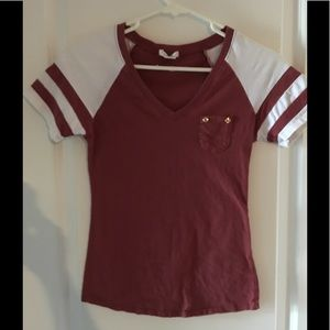 Other - Girls Burgundy Raglan Tee